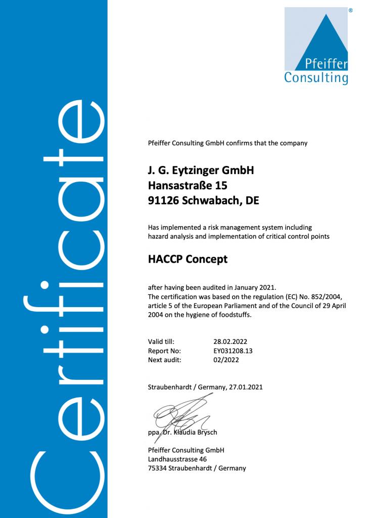 Gold Gourmet HACCP Certificate