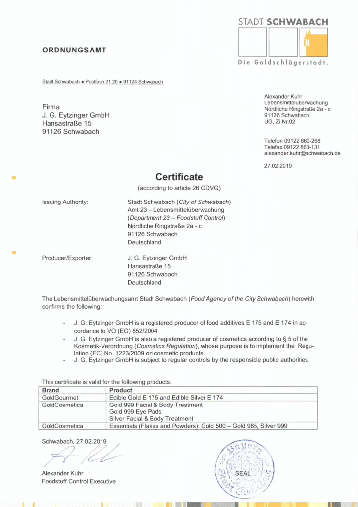 Food Agency Certificate Gold Gourmet