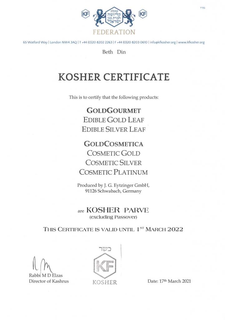Gold Gourmet Kosher Certificate